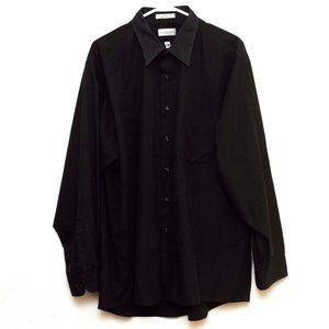 Van Heusen Shirt Mens Size XXL Black Button Down